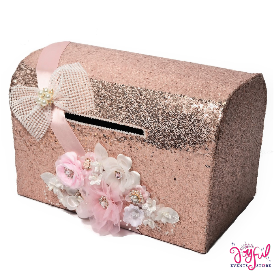 """15"""" Rose Bronze with Pink and White Flowers Money Box #MNYBX7"""