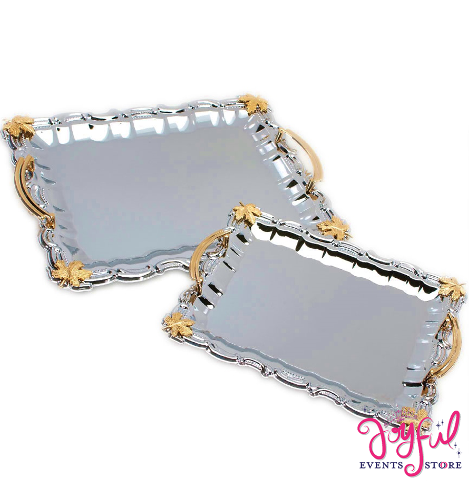 2 Charola Trays with Silver and Gold -  Two #CHAR2
