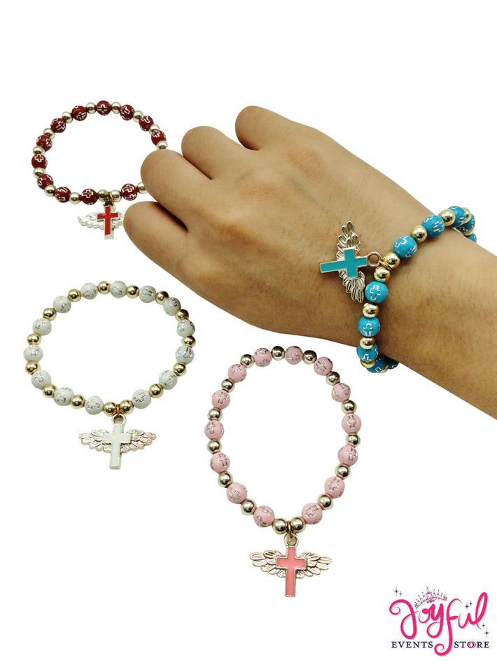 Religious Bracelet with Cross - One Dozen #PFAV11