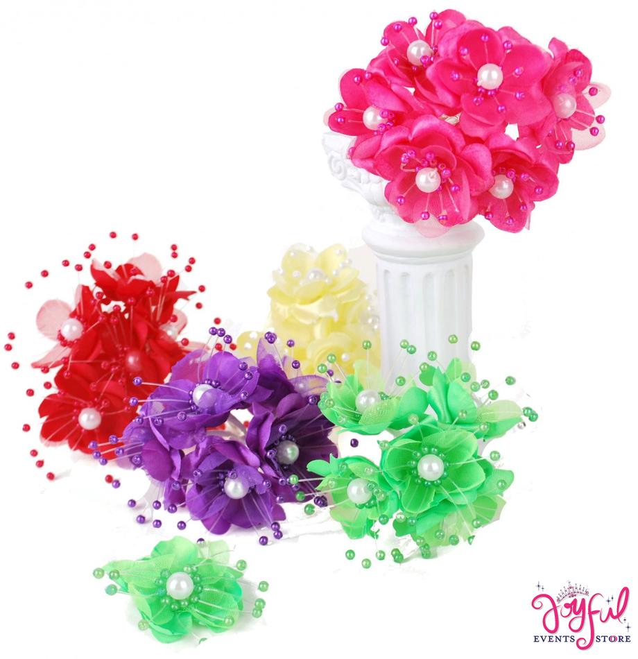 "1.25"" Satin Pearl Flowers - 72 Flowers #FL2"