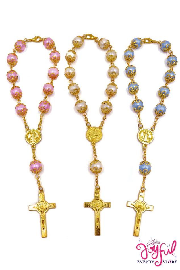 "6"" St. Benedict Mini Bracelet Rosary - One Dozen #PF25"