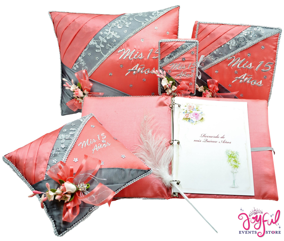 Coral Quinceanera Accessories Pillows, Photo Album, Guest Book and Bible #QSET58