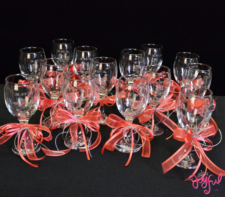 "5"" Decorated Toasting Glasses - 14 Glasses #TG9DEC2CR"