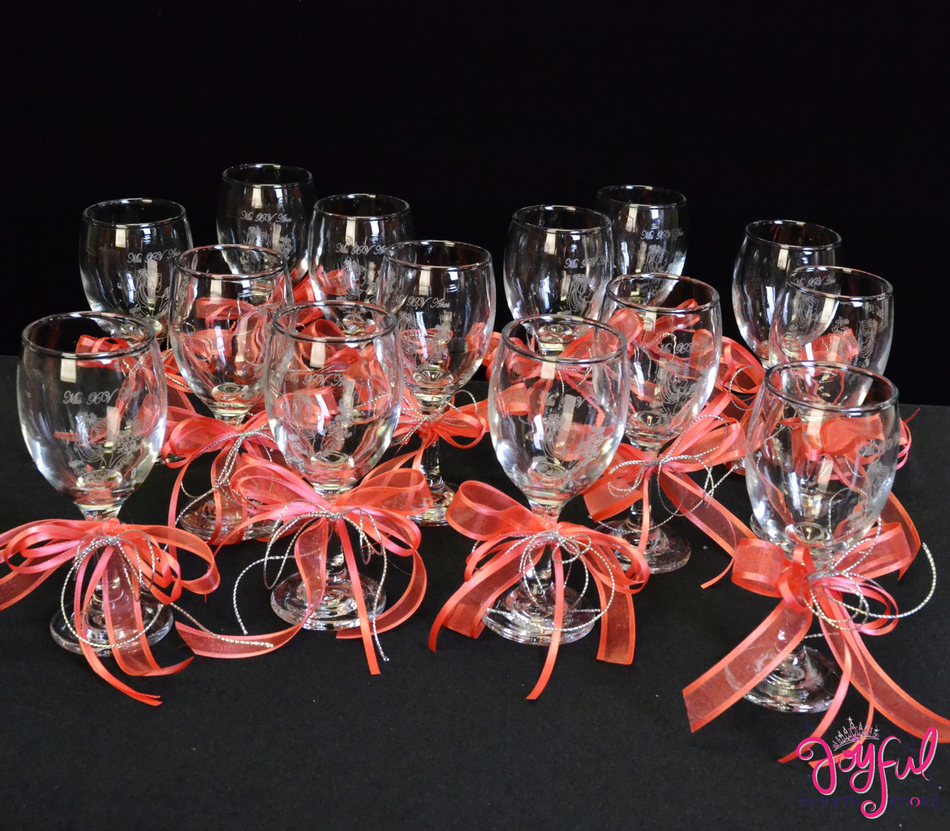 "5"" Decorated Toasting Glasses - 14 Glasses #TG9DEC2CR"
