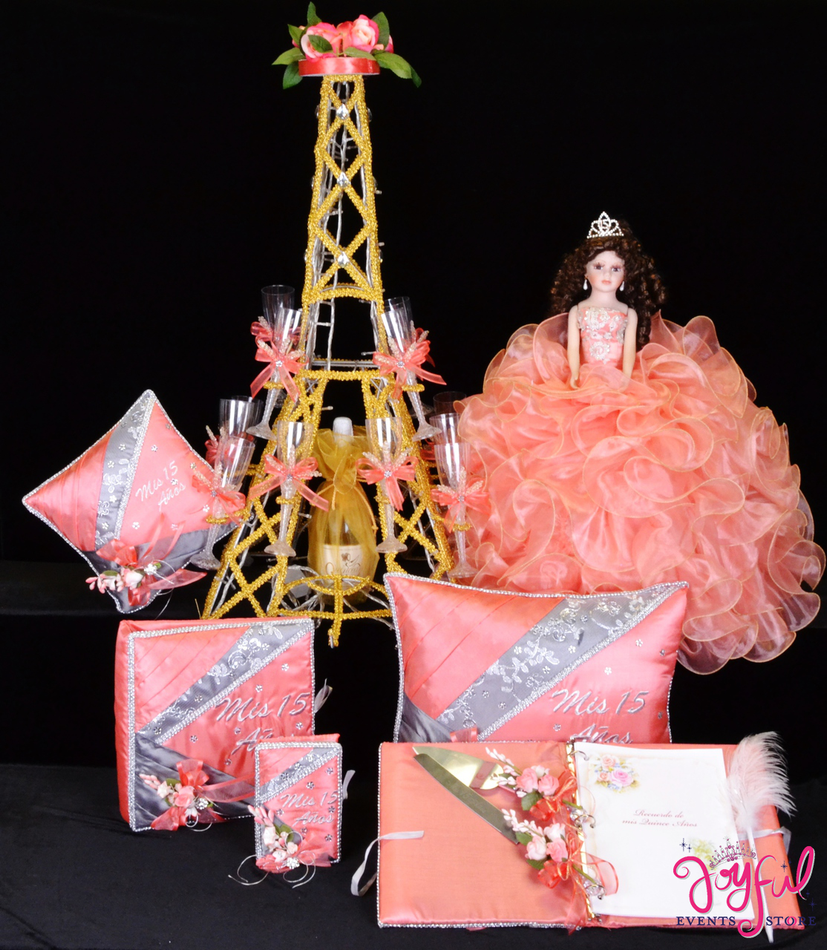 Eiffel Tower Quinceanera Package Toasting Set, Doll, Pillows, Guest Book, Album, and Cake Server #QSP131