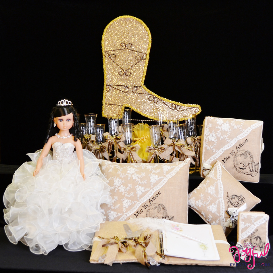 Western Quinceanera Package Toasting Set, Doll, Pillows, Guest Book, Album, and Cake Server #QSP127