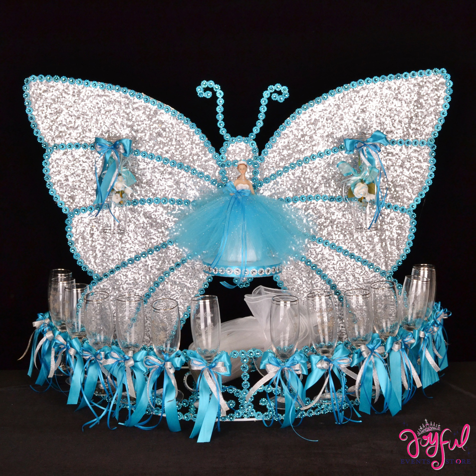 "28"" Blue Butterfly Toasting Set #TS62"