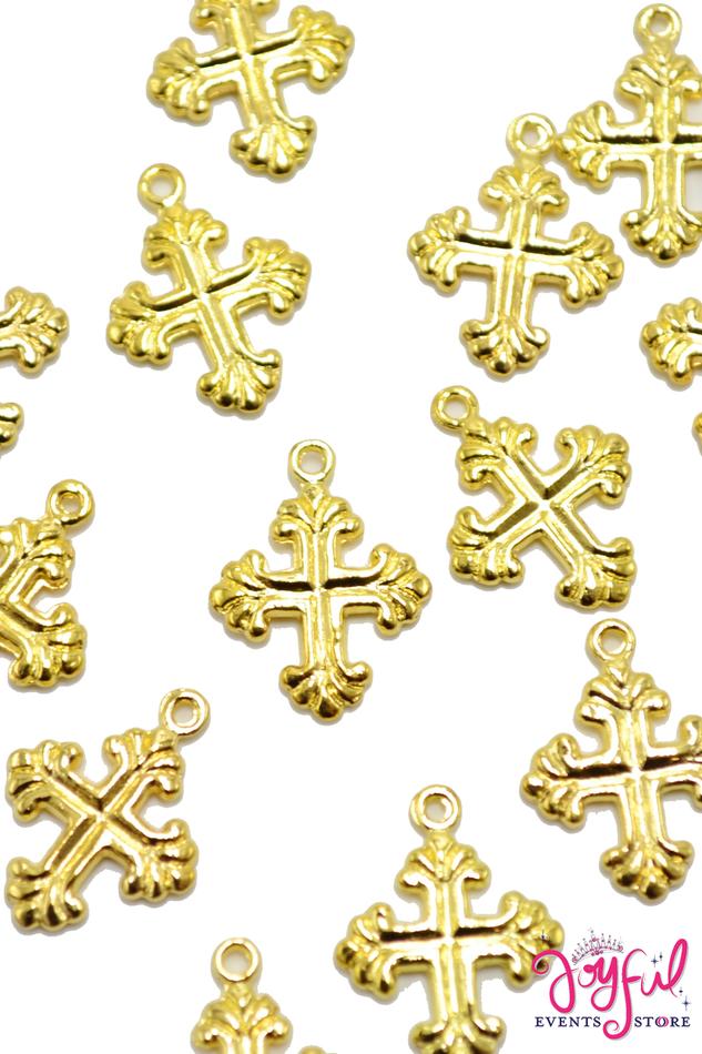 "3/4"" Mini Cross Gold Charm - One Piece #CHARM11"