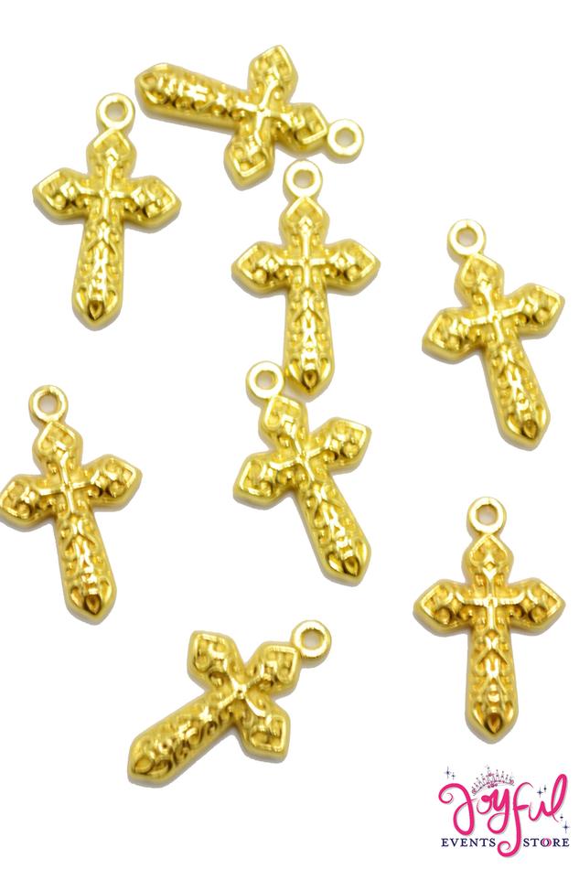 "3/4"" Mini Gold Cross Charm - One Piece #CHARM224"