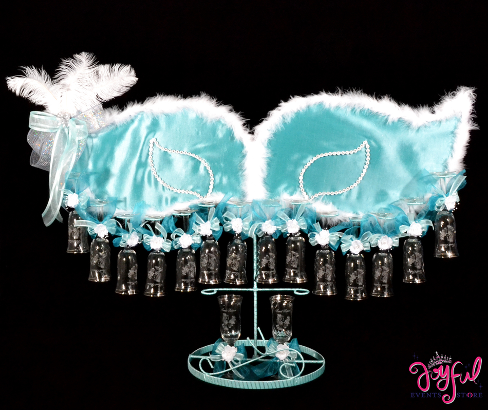 "42"" Masquerade Toasting Set with Feathers #TS72"