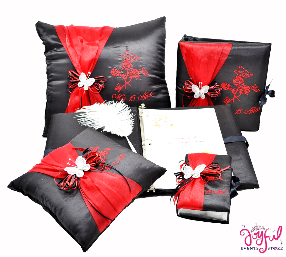 Butterfly Quinceanera Accessories Pillows, Photo Album, Guest Book and Bible #QSET64