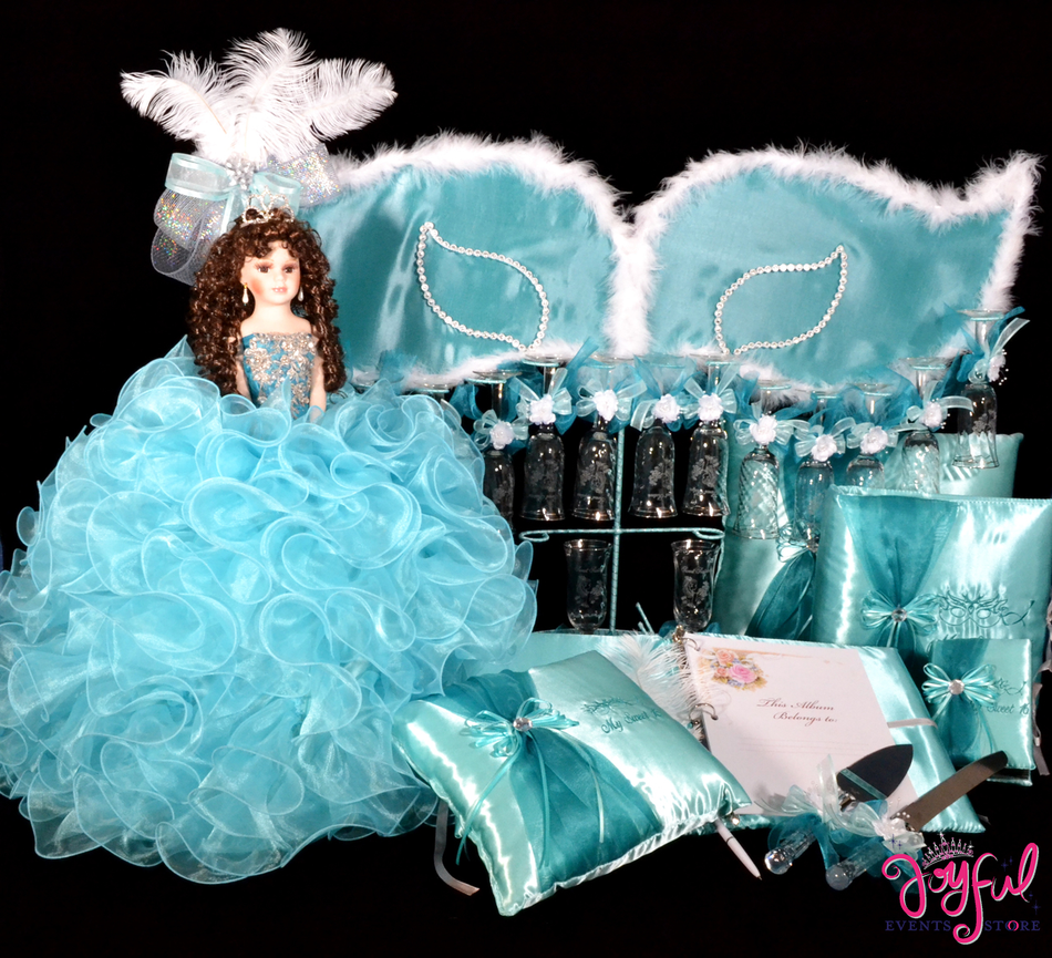 Masquerade Quinceanera Package Toasting Set, Doll, Pillows, Guest Book, Album, and Cake Server #QSP147
