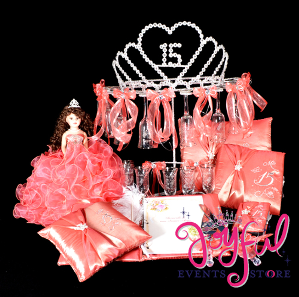 Princess Quinceanera Package Toasting Set, Doll, Pillows, Guest Book, Album, and Cake Server #QSP149