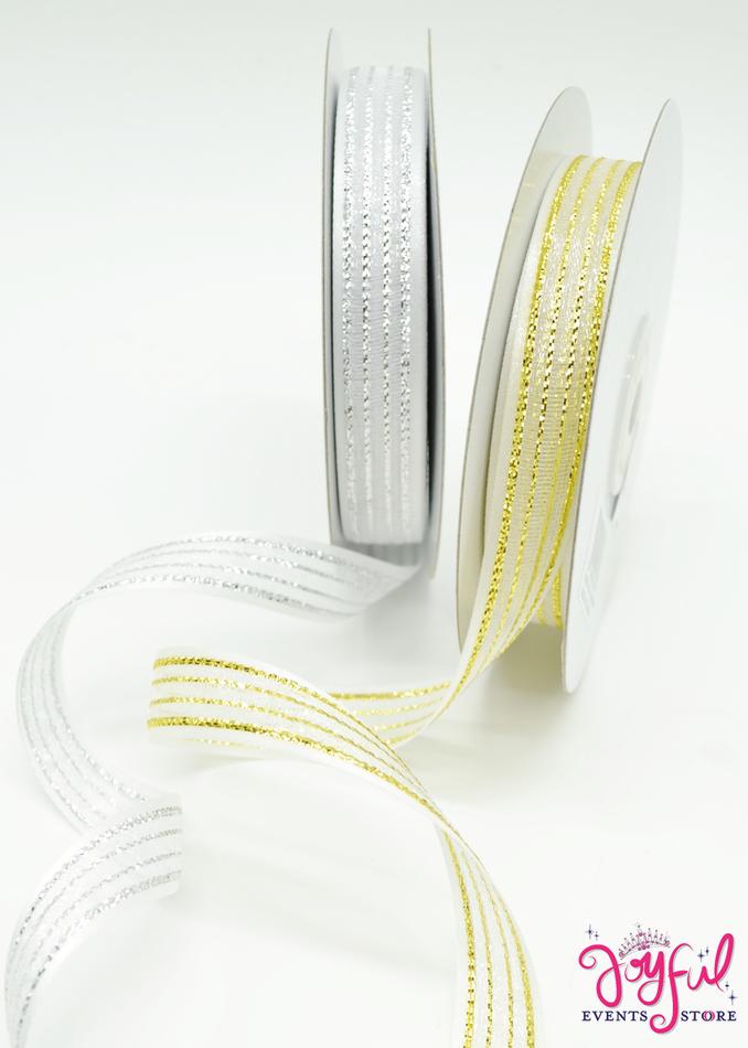 """5/8"""" Organza Sheer Ribbon with  Shimmer - 25 Yards #RIB54JE"""