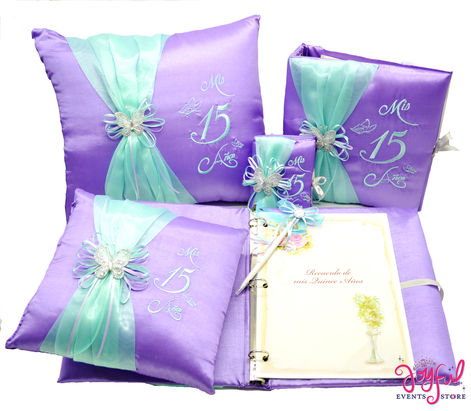 Butterfly Quinceanera Accessories Pillows, Photo Album, Guest Book and Bible #QSET71JE