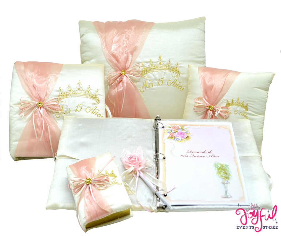 Princess Quinceanera Accessories Pillows, Photo Album, Guest Book and Bible #QSET72JE