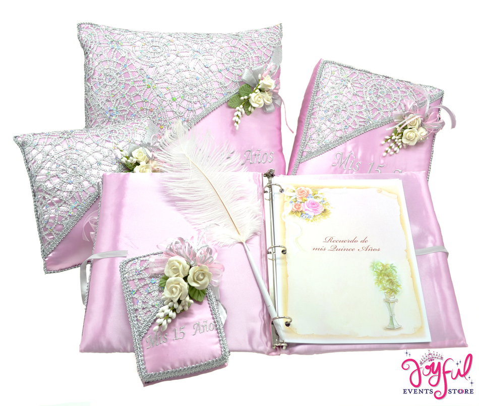 Flower Quinceanera Accessories Pillows, Photo Album, Guest Book and Bible #QSET20PK