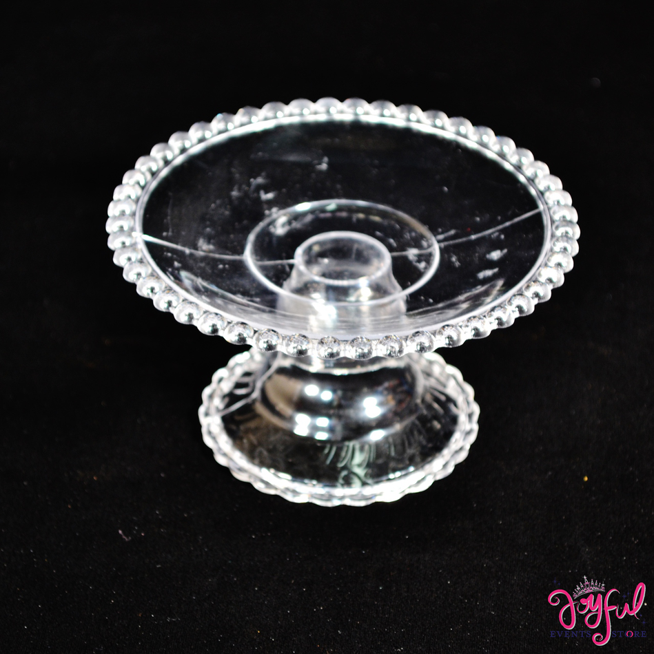 "4"" Clear Plastic Base and Candle Holder - Six Pieces #PLBS1"