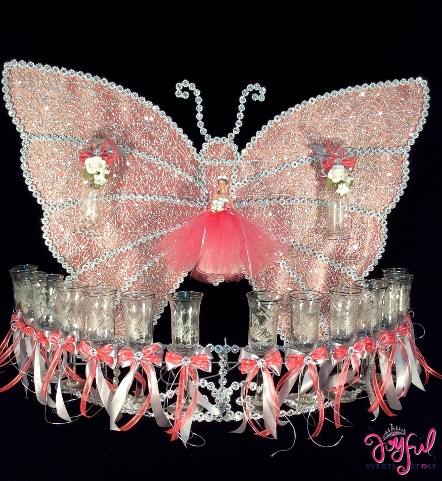 "28"" Butterfly Toasting Set with Glasses #TS75"