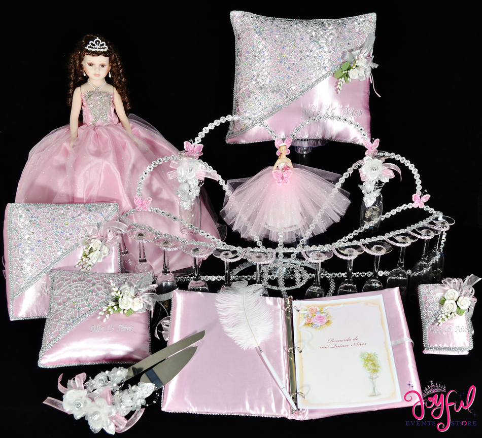 Under The Sea Quinceanera Package Toasting Set, Doll, Pillows, Guest Book, Album, and Cake Server #QSP151