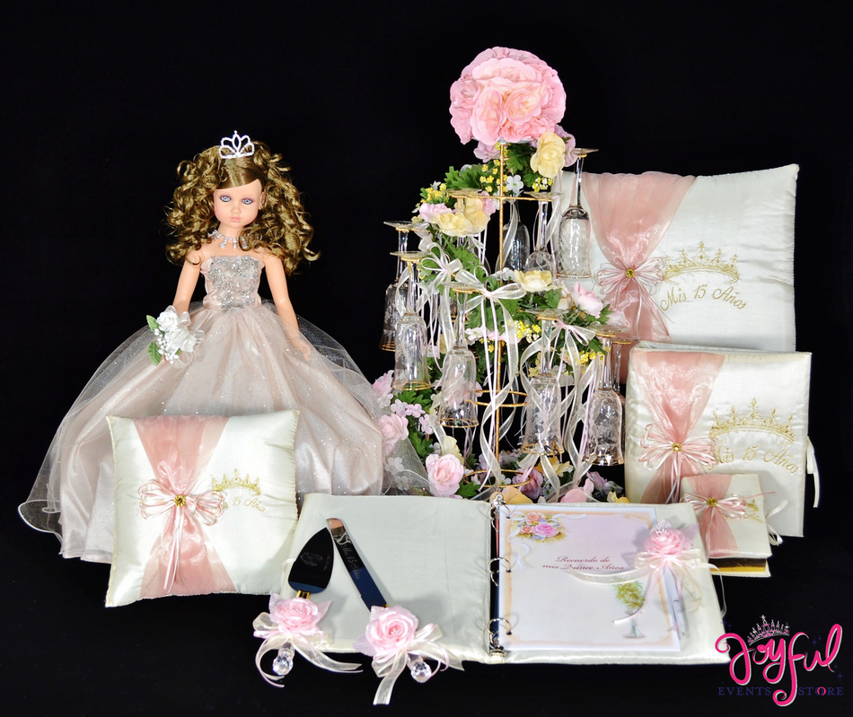 Princess Quinceanera Package Toasting Set, Doll, Pillows, Guest Book, Album, and Cake Server #QSP152