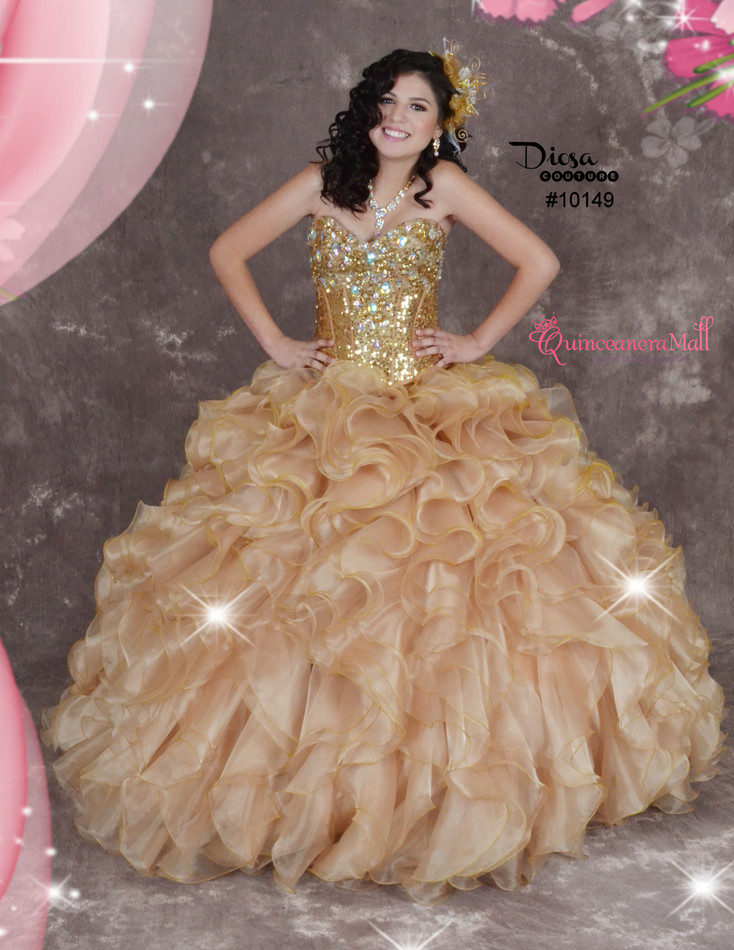 Gold Quinceanera Dress #10149JES