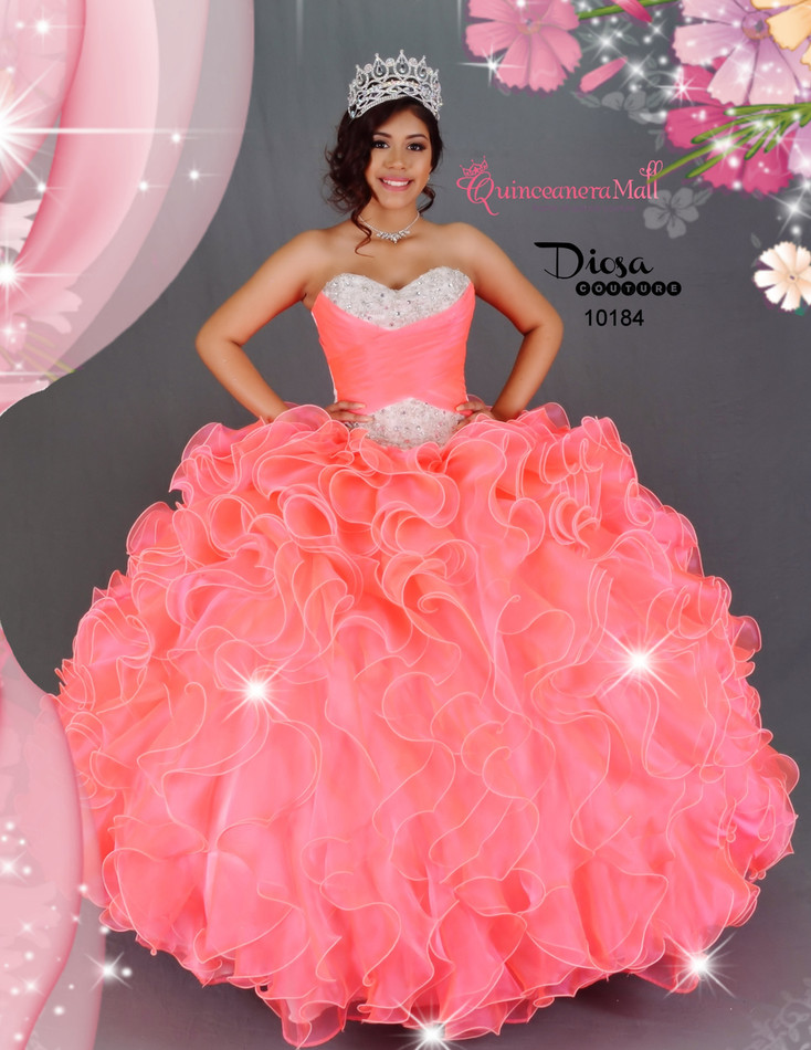 Neon Coral Princess Quinceanera Dress #10184JES