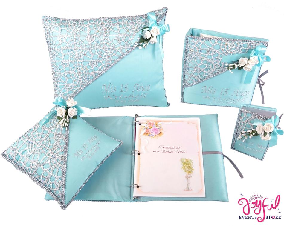 Flower Quinceanera Accessories Pillows, Photo Album, Guest Book and Bible #QSET20AQ