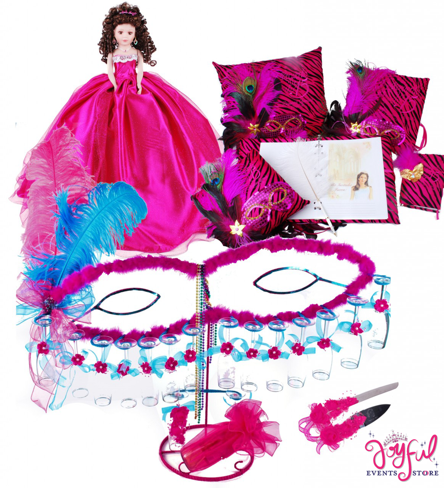 Masquerade with Zebra Quinceanera Package Toasting Set, Doll, Pillows, Guest Book, Album, and Cake Server #QSP108