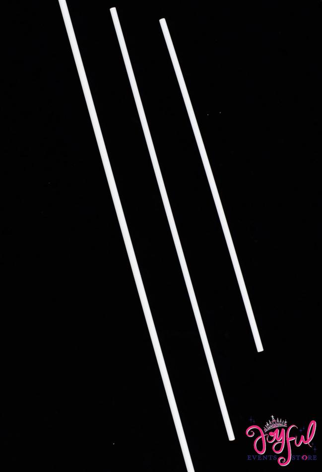 """12"""" White Plastic Sticks - One Dozen #STKS12"""