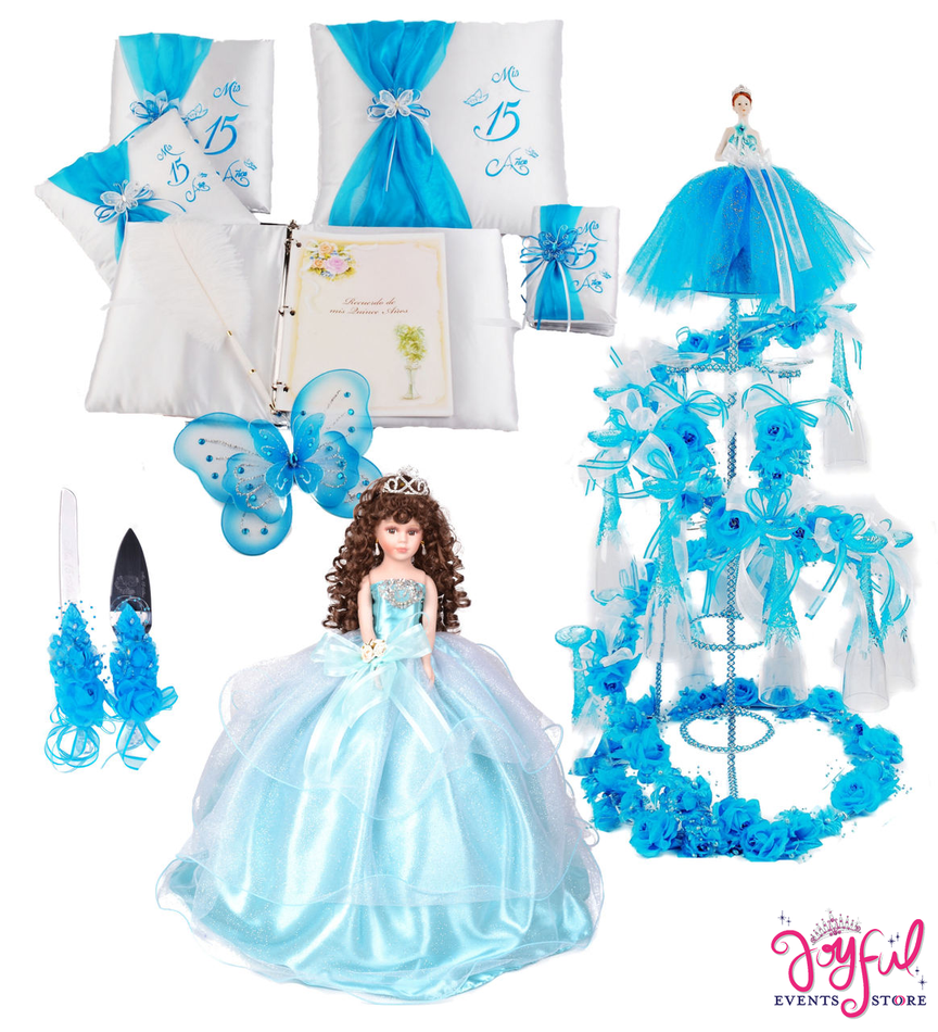 Butterfly Quinceanera Package Toasting Set, Doll, Pillows, Guest Book, Album, and Cake Server #QSP111