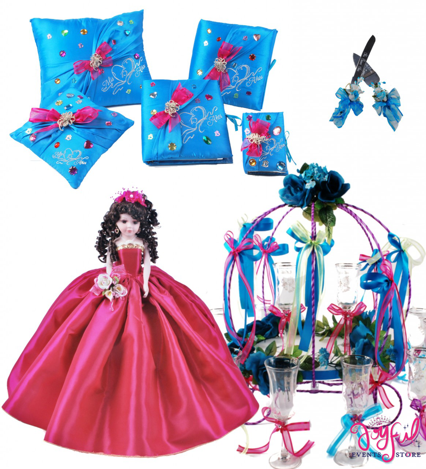 Quinceanera Quinceanera Package Toasting Set, Doll, Pillows, Guest Book, Album, and Cake Server #QSP113