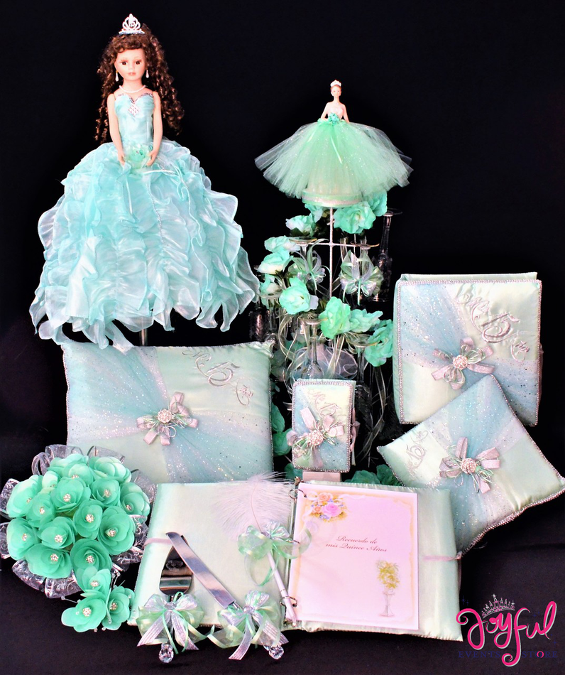Quinceanera Package Toasting Set, Doll, Pillows, Guest Book, Album, Flower Bouquet and Cake Server #QSP153