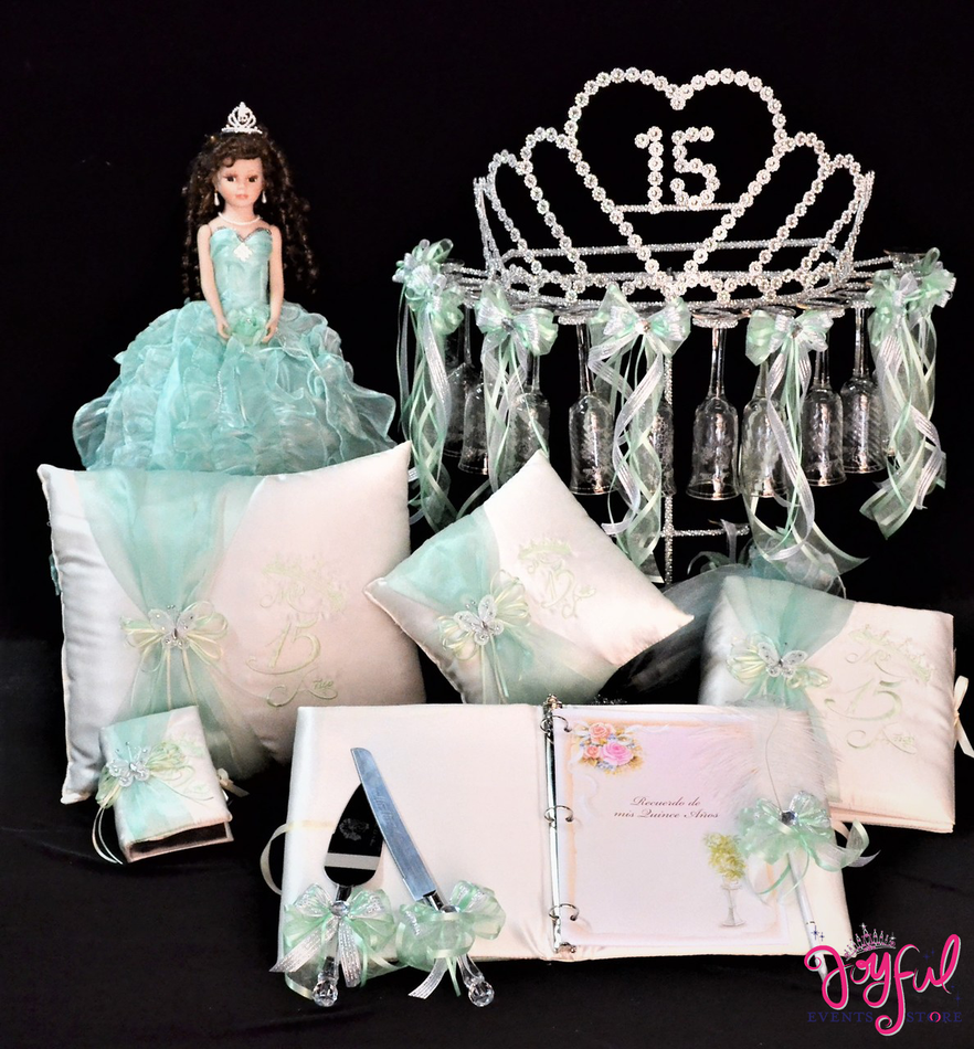 Princess Tiara Quinceanera Package Toasting Set, Doll, Pillows, Guest Book, Album, and Cake Server #QSP155
