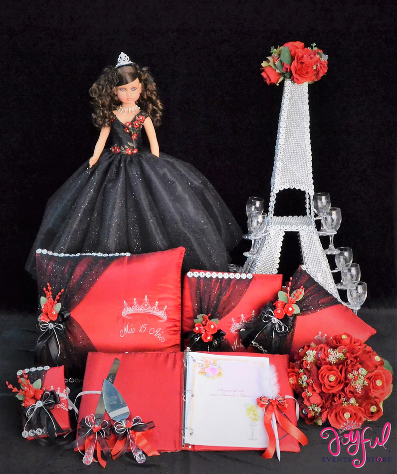 Eiffel Tower Theme Accessories Quinceanera Package Toasting Set, Doll, Pillows, Guest Book, Album, Flower Bouquet, and Cake Server #QSP160