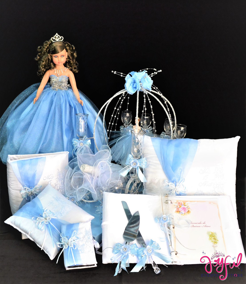 Cinderella Theme Accessories Quinceanera Package Toasting Set, Doll, Pillows, Guest Book, Album, and Cake Server #QSP166