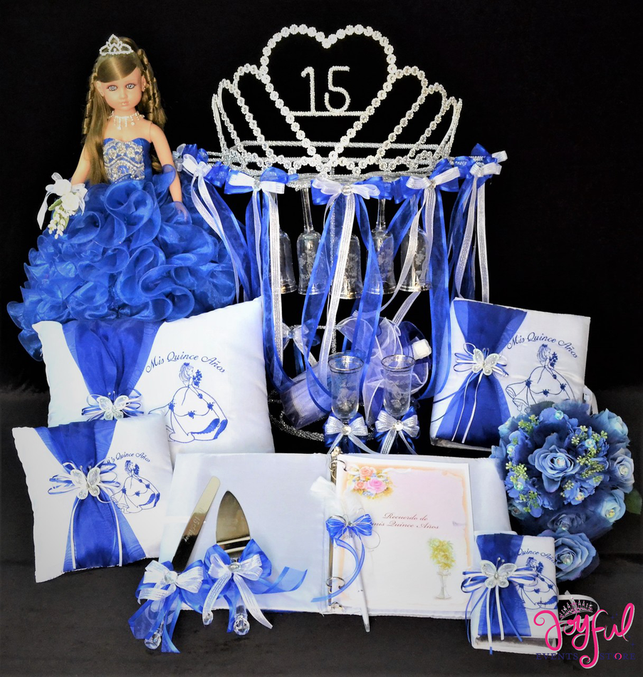 Princess Quinceanera Package Toasting Set, Doll, Pillows, Guest Book, Album, Flower Bouquet, and Cake Server #QSP165
