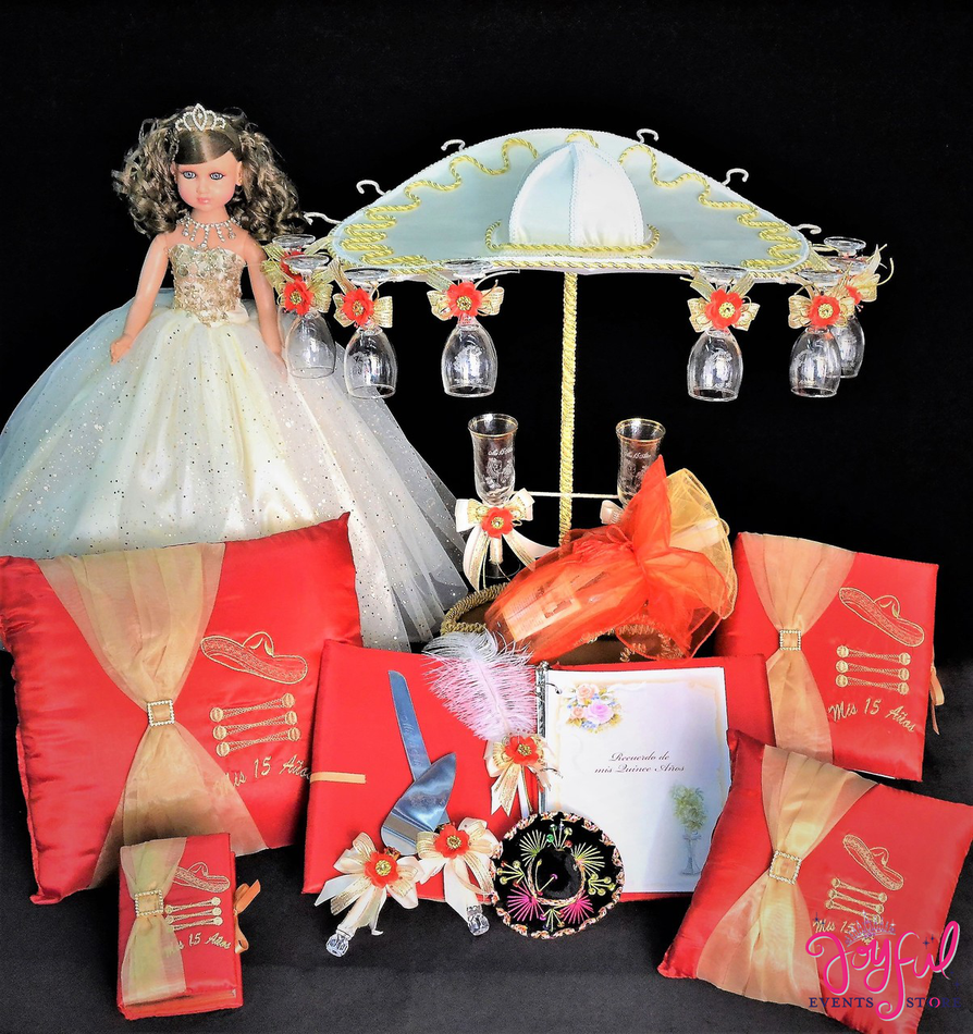 Charra Quinceanera Package Toasting Set, Doll, Pillows, Guest Book, Album, and Cake Server #QSP169