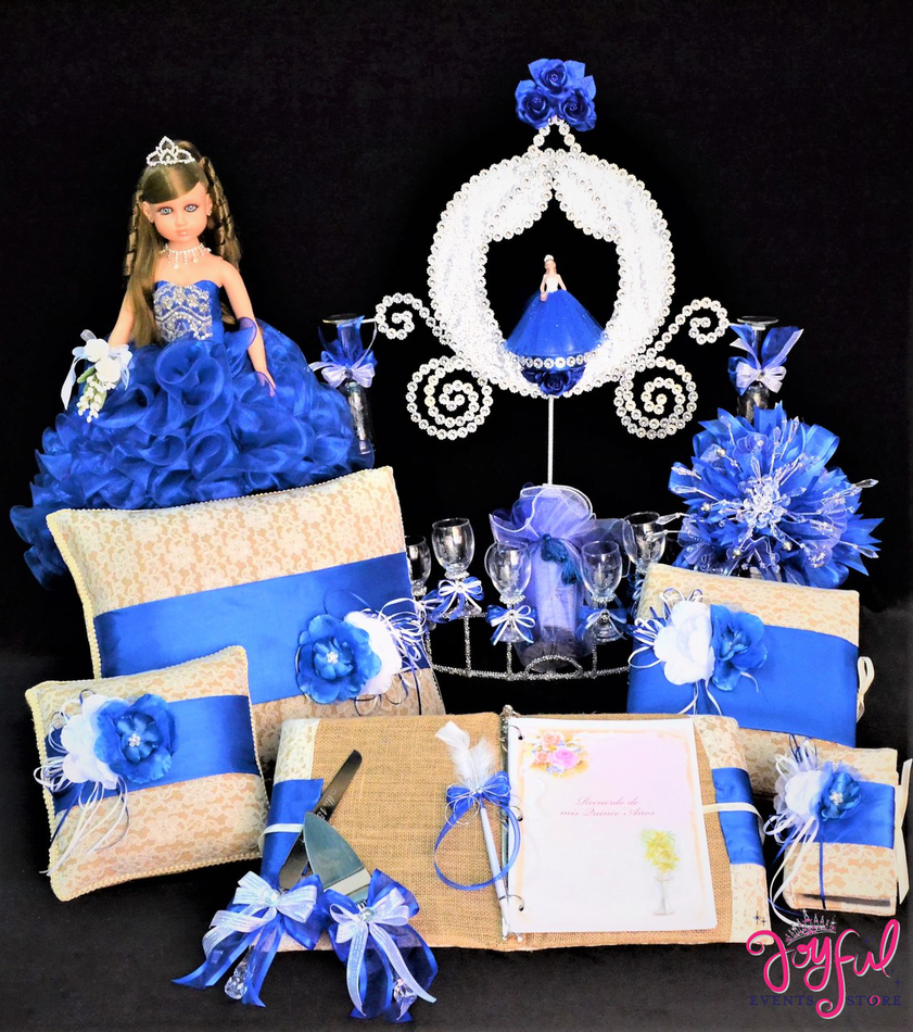 Quinceanera Package Toasting Set, Doll, Pillows, Guest Book, Album, Flower Bouquet, and Cake Server #QSP164