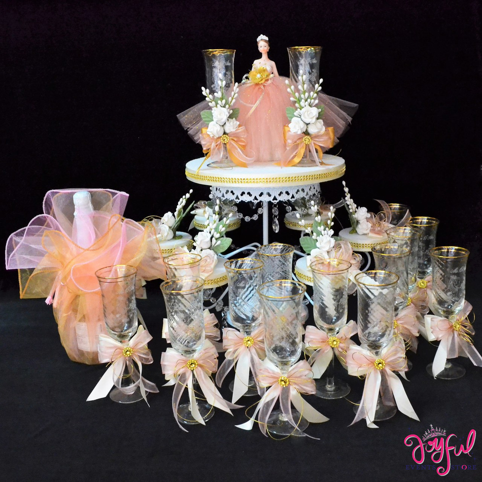 Quinceanera Decorated Toasting Glasses with Base #TS96