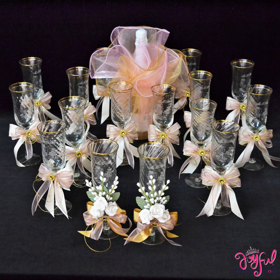 Quinceanera Decorated Toasting Glasses #TS100