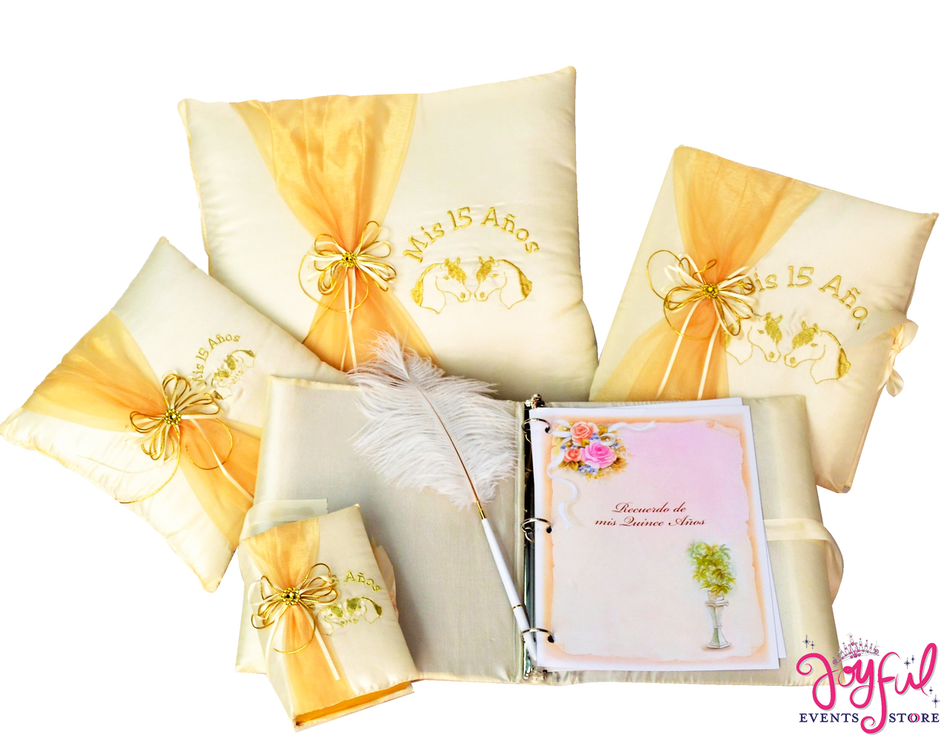 Western Theme Quinceanera Accessories Pillows, Photo Album, Guest Book and Bible #QSET75