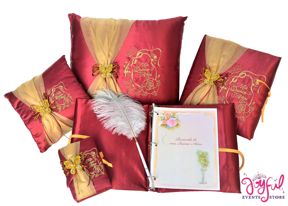 Butterfly Quinceanera Accessories Pillows, Photo Album, Guest Book and Bible #QSET73