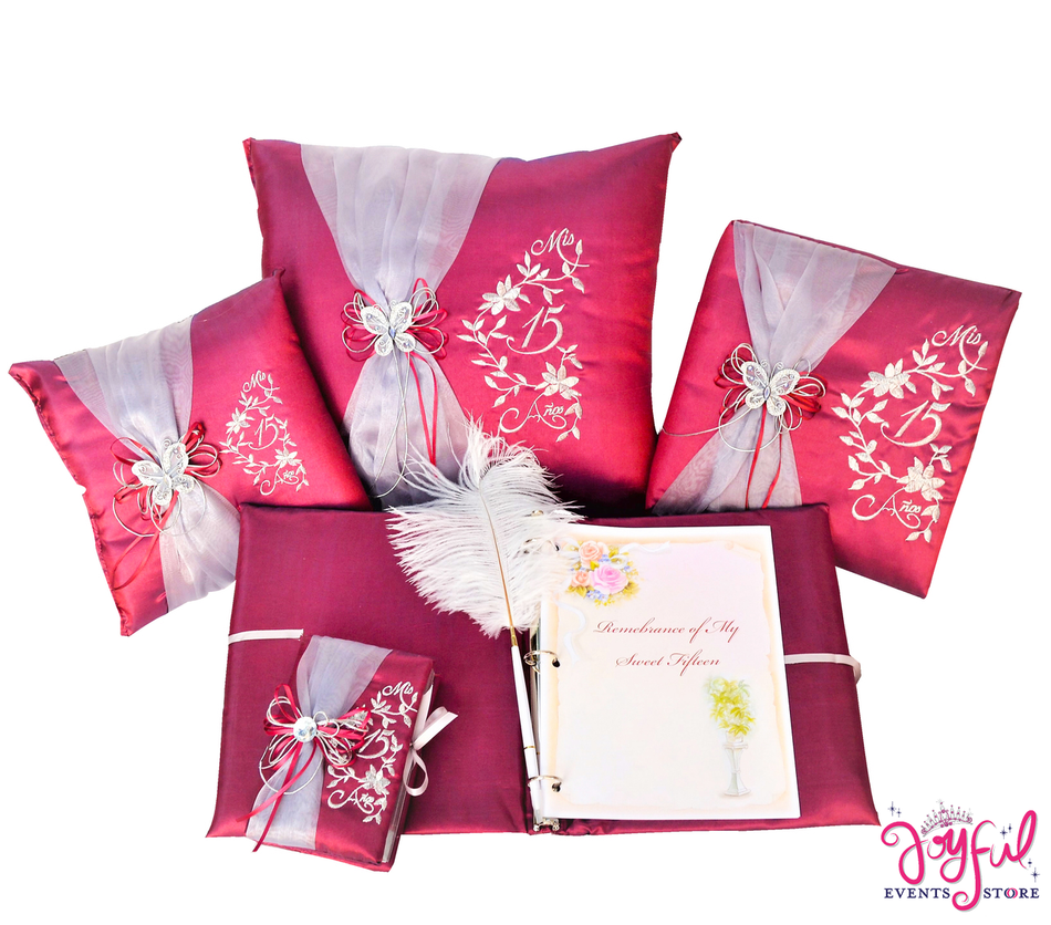 Quinceanera Accessories Pillows, Photo Album, Guest Book and Bible #QSET77