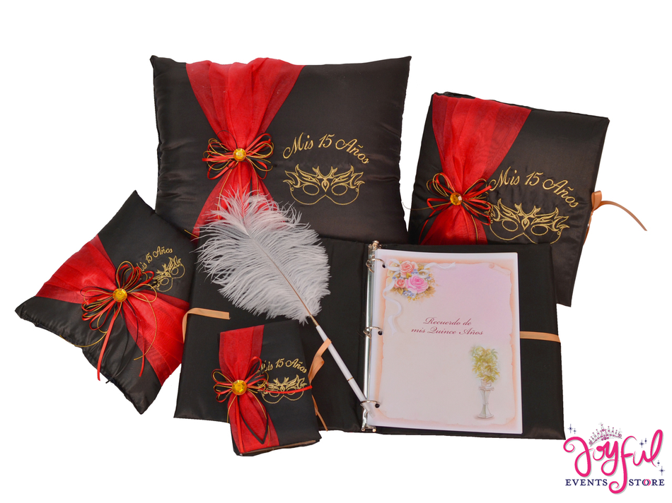 Masquerade Quinceanera Accessories Pillows, Photo Album, Guest Book and Bible #QSET84