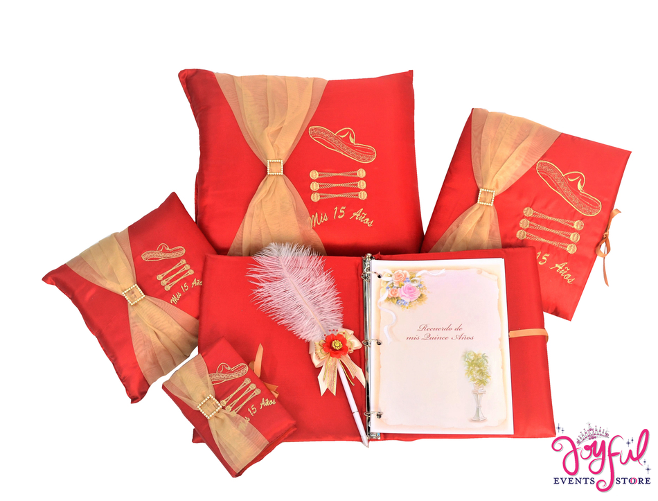 Charra Theme Quinceanera Accessories Pillows, Photo Album, Guest Book and Bible #QSET78