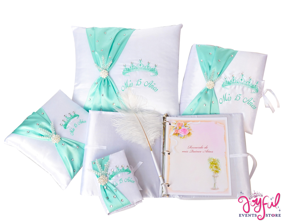Quinceanera Accessories Pillows, Photo Album, Guest Book and Bible #QSET79
