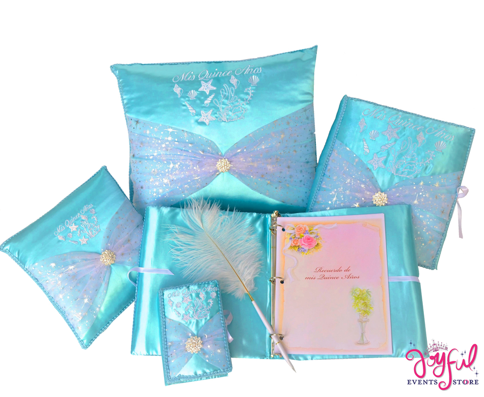 Under the Sea Quinceanera Accessories Pillows, Photo Album, Guest Book and Bible #QSET85