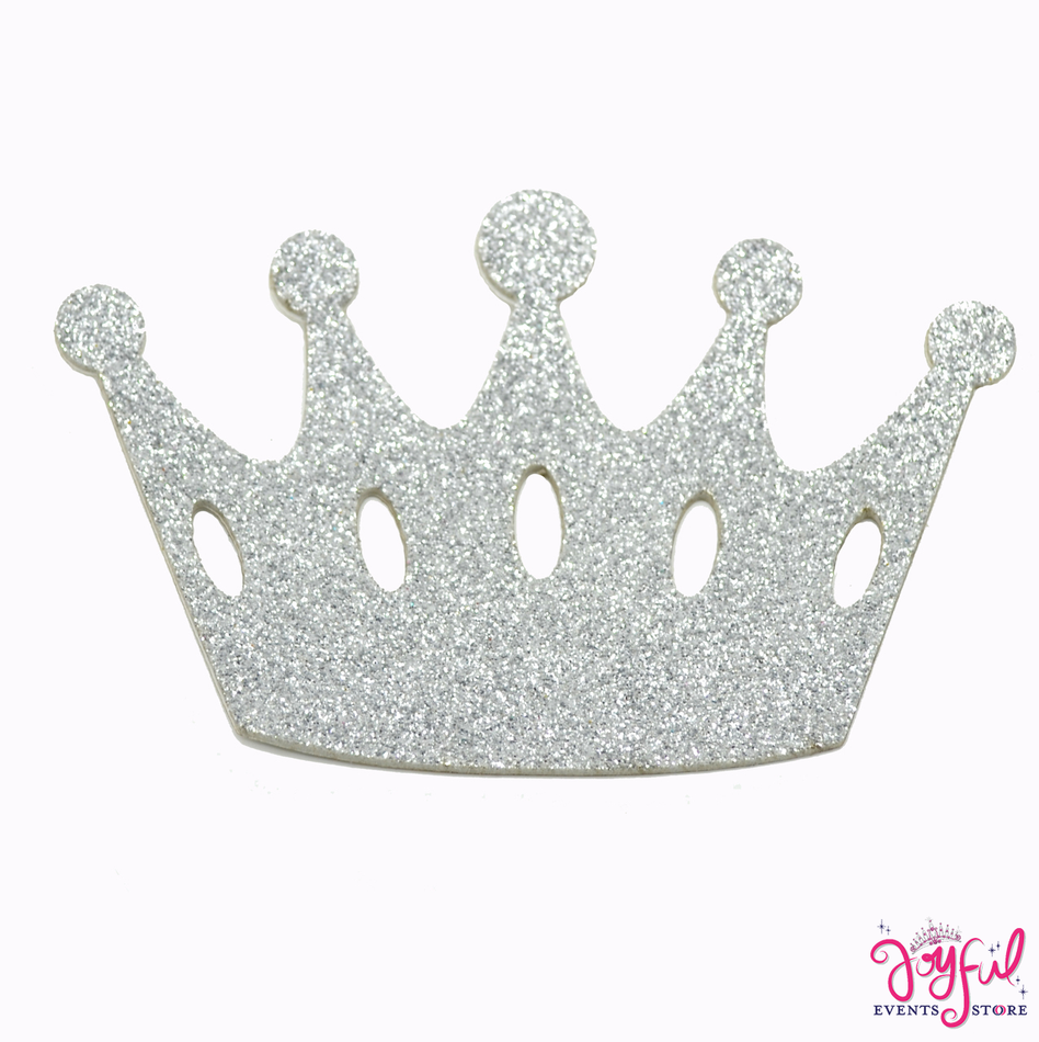 "8"" Silver Foami Crown with Adhesive Back - 10 Pieces #FM78"