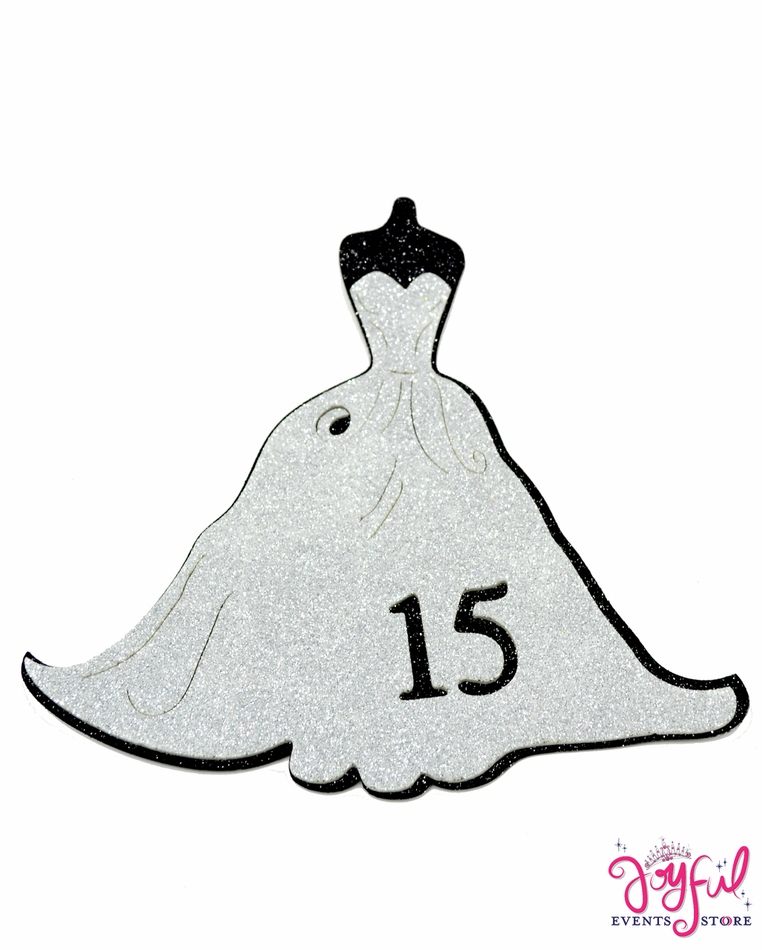 "7.25"" Foami Silver Quinceañera Dress with Adhesive on Back - 10 Pieces #FM80"